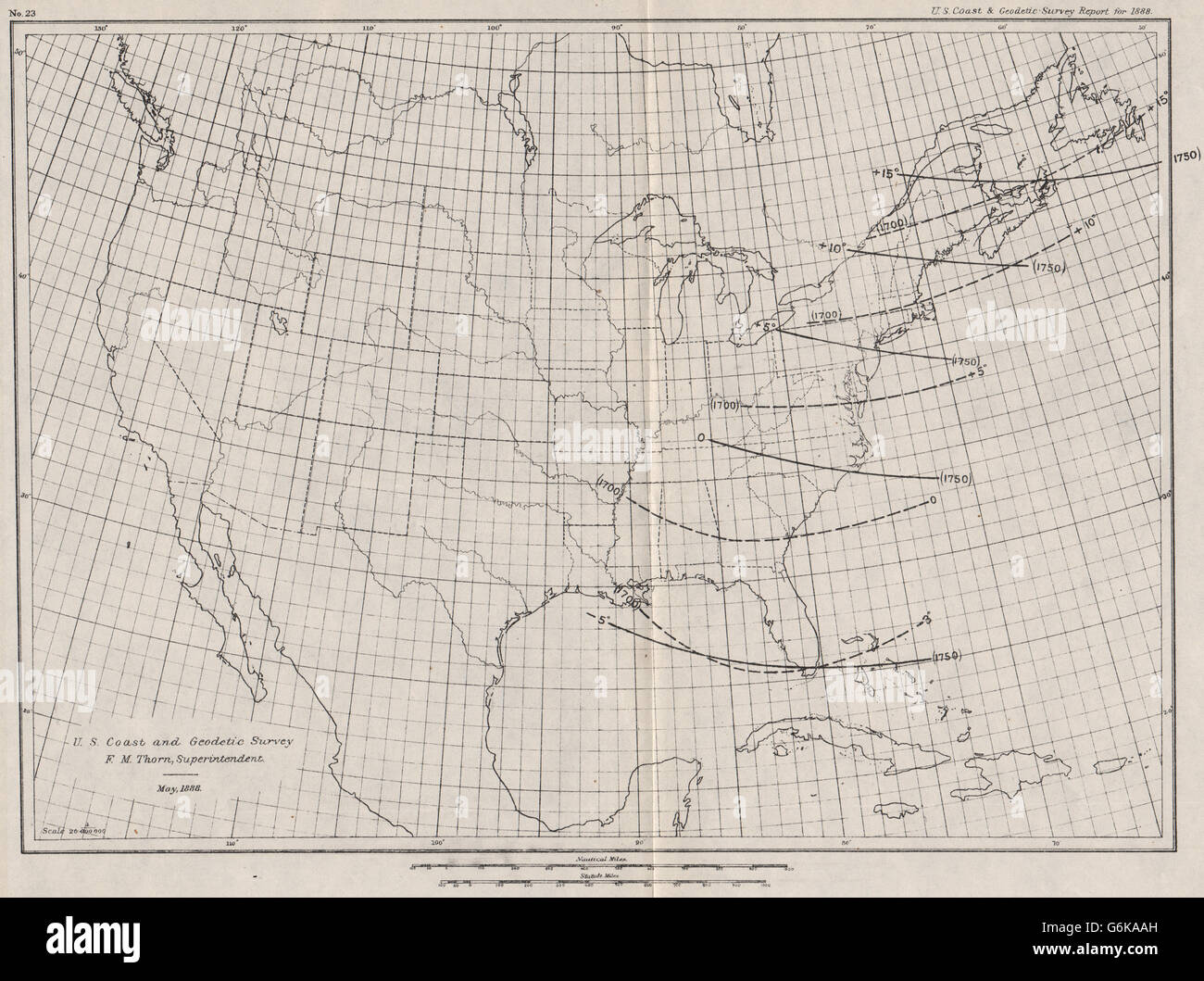 Usa Showing Magnetic Declination In 1700 1750 Isogonic Lines