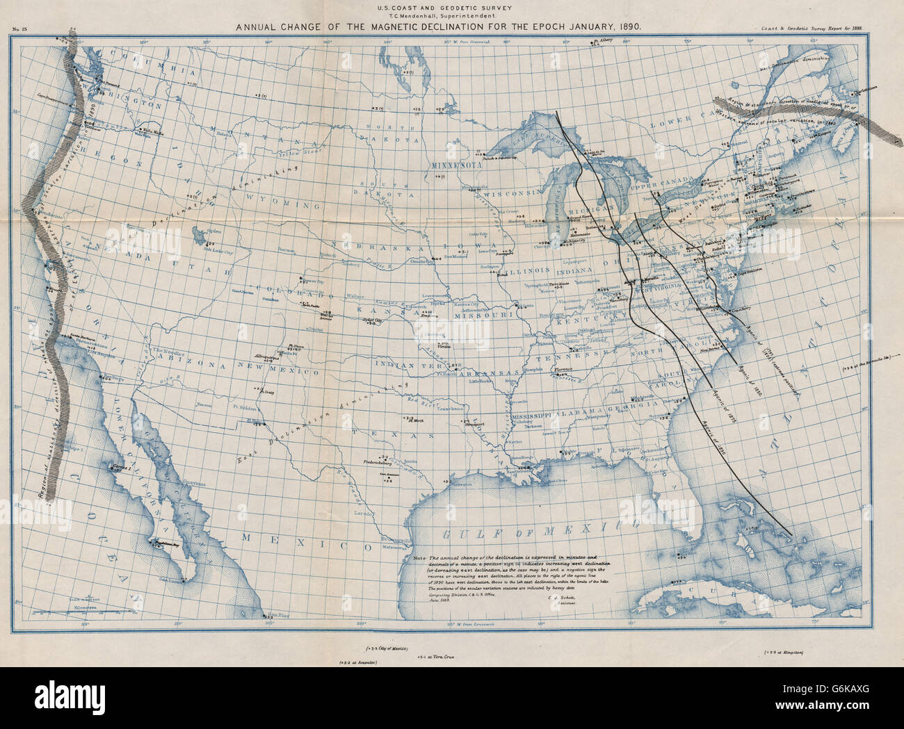 USA: Magnetic declination annual change. Agonic lines 1797-1890 ...