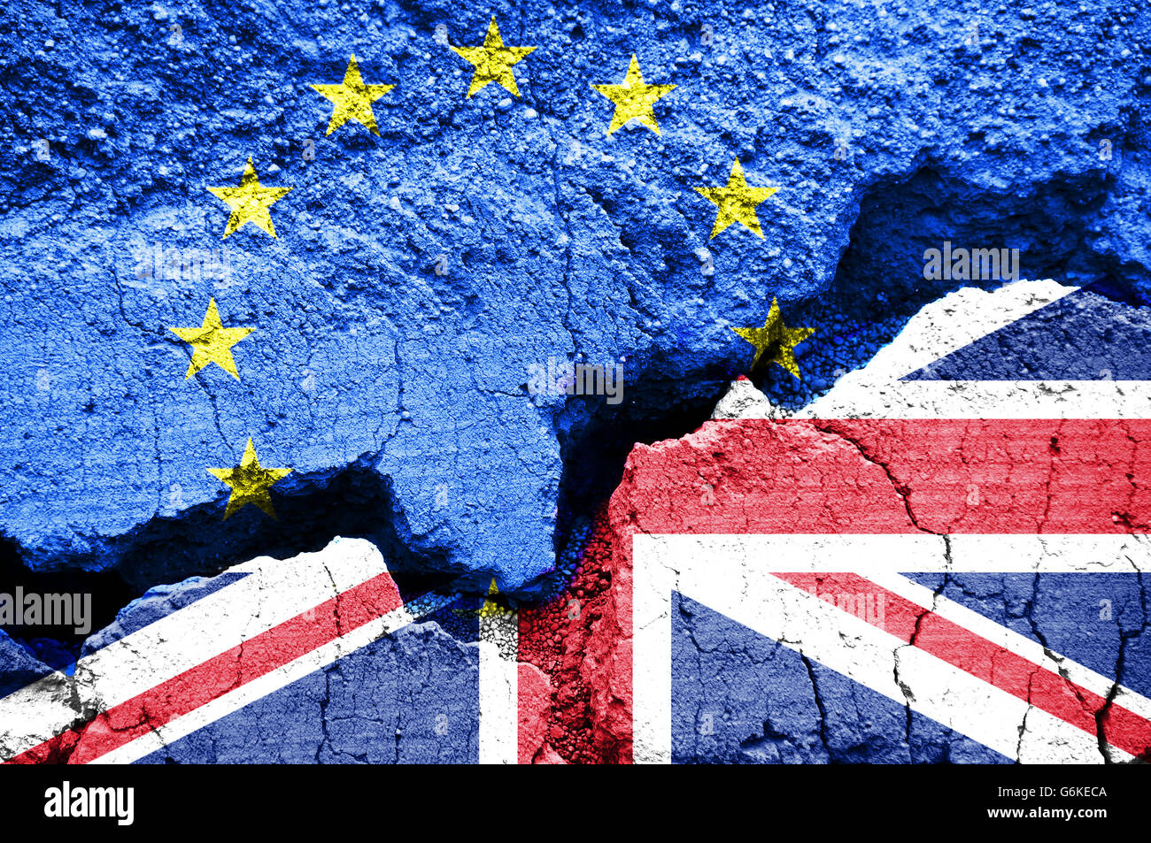 Brexit, Flags of the United Kingdom and the European Union on cracked background - Stock Image