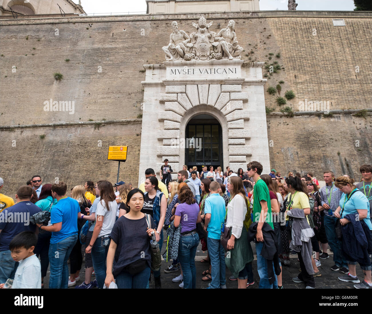 Tourists leaving the Vatican Museum in Rome, Italy - Stock Image