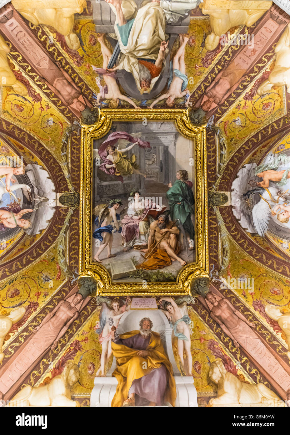 Ornate roof in the Vatican Museum in Rome, Italy - Stock Image