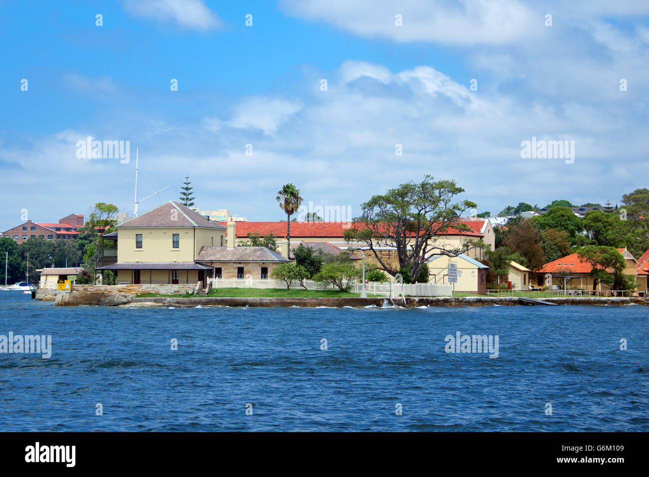 Old colonial buildings Spectacle Island Sydney Harbour NSW Australia - Stock Image
