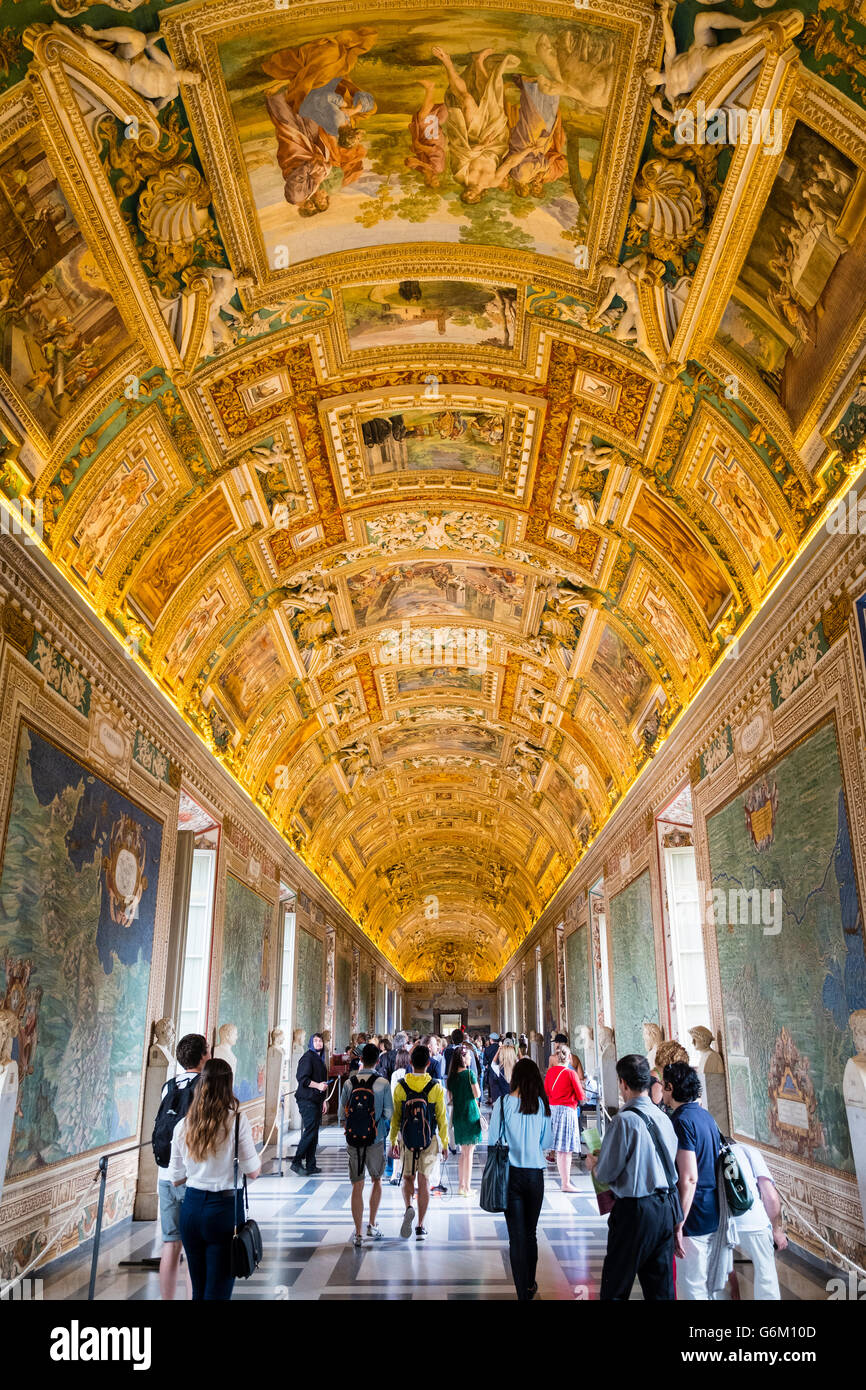 Ornate roof in the Maps Room at Vatican Museum in Rome, Italy - Stock Image