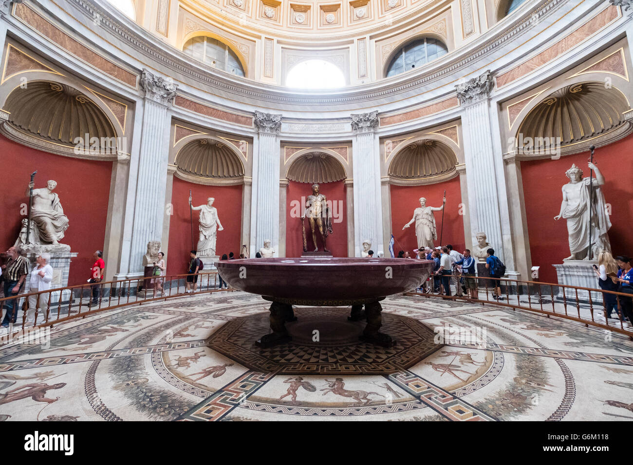 The Round room (Sala Rotonda) in the Vatican Museum in Rome, Italy - Stock Image