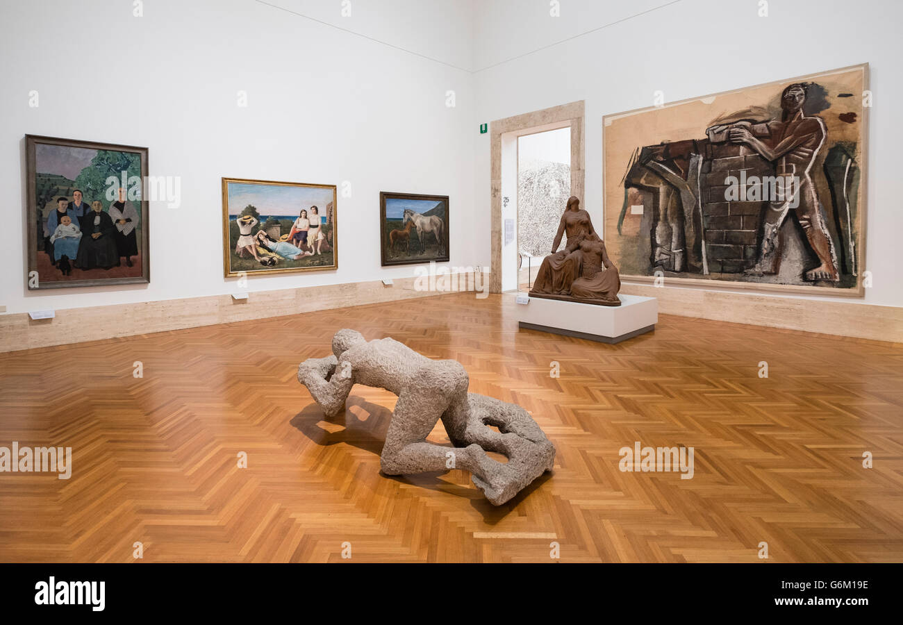 Gallery inside National Gallery of Modern and Contemporary Art, Rome, Italy - Stock Image