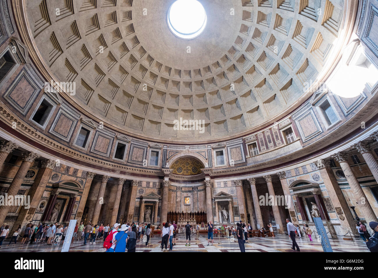 Interior of the Pantheon,  on Piazza della Rotonda,  Rome, Italy - Stock Image