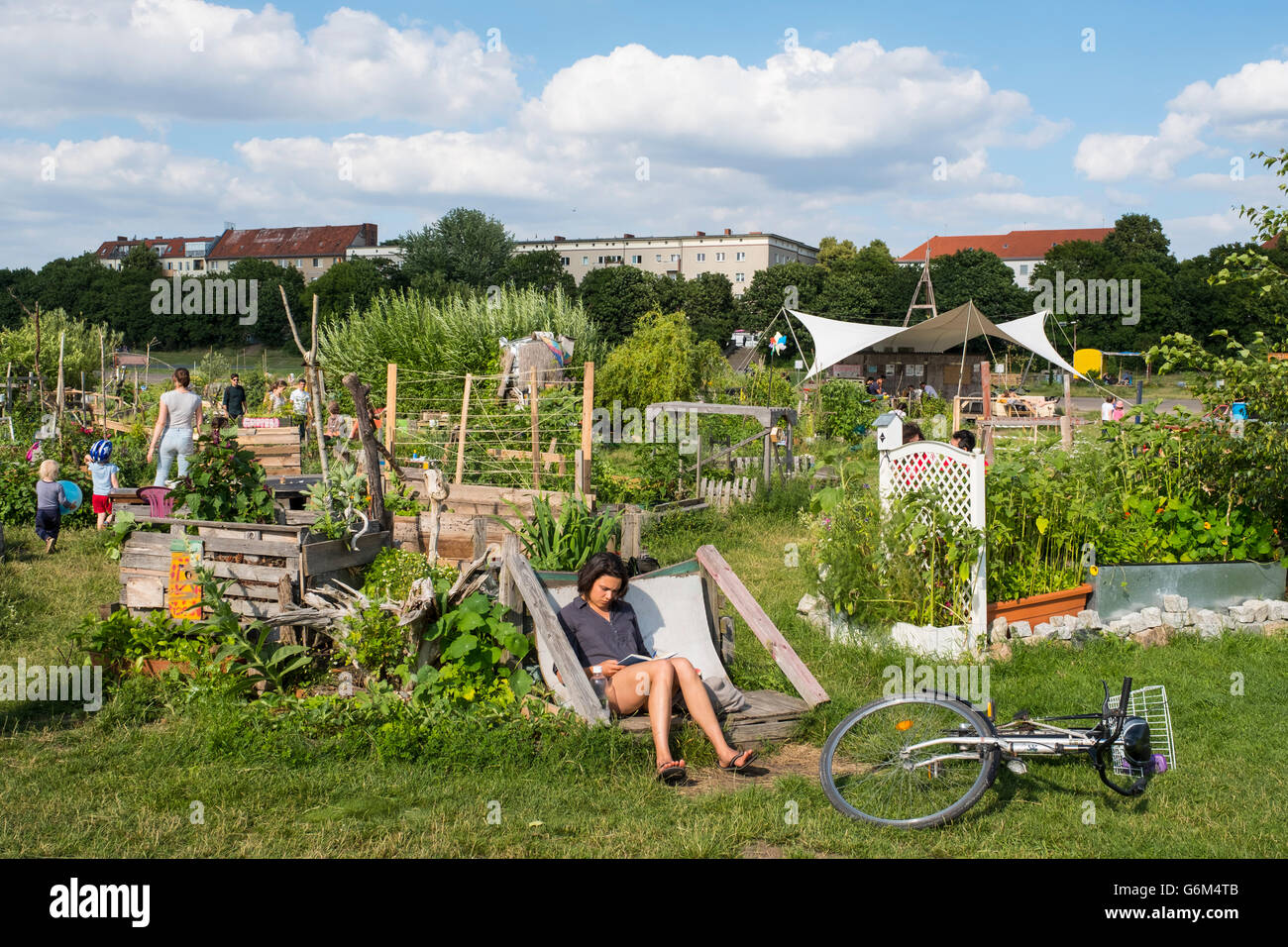 Community garden project at Tempelhof Park former airport in Berlin Germany - Stock Image