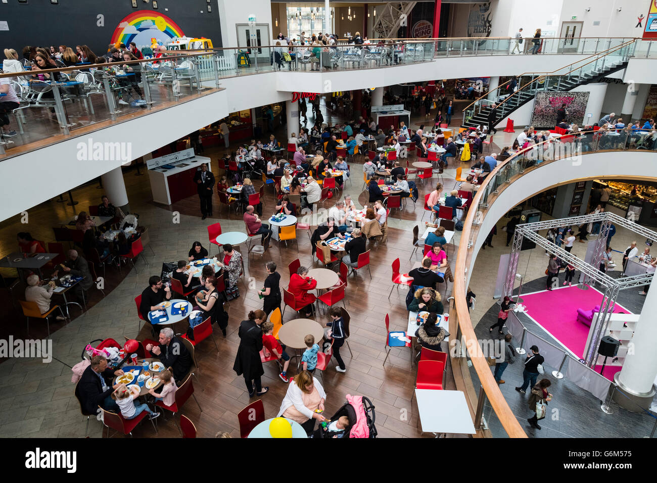 Food court inside St Enoch Centre shopping mall in Glasgow, Scotland,United Kingdom - Stock Image