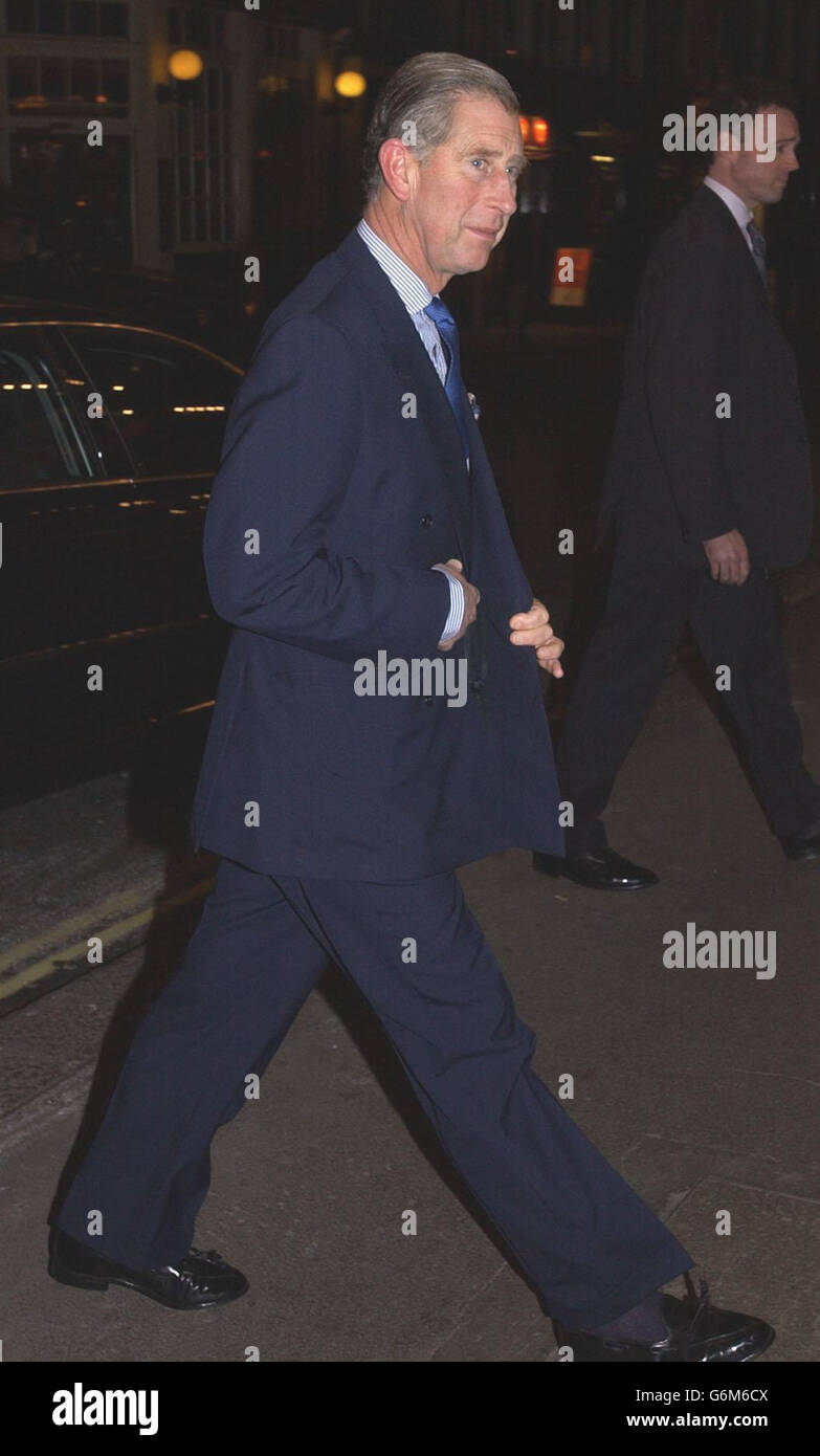 Prince Charles at the Theatre - Stock Image