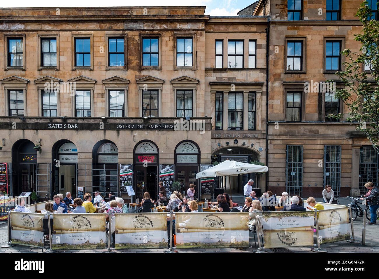 Outdoor restaurant on street at Italian Centre in Merchant City district of Glasgow, Scotland, United Kingdom - Stock Image