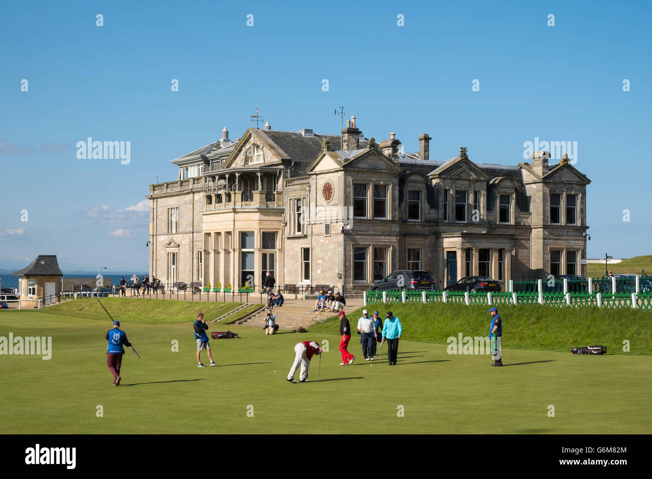 The Royal and Ancient Clubhouse beside 18th green on Old Course at St Andrews golf course in Fife, Scotland, united - Stock Image