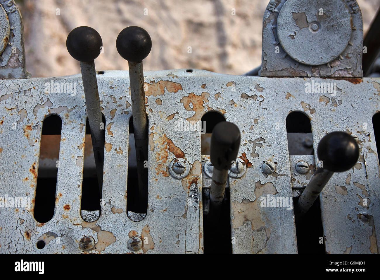 Levers in a tractor - Stock Image