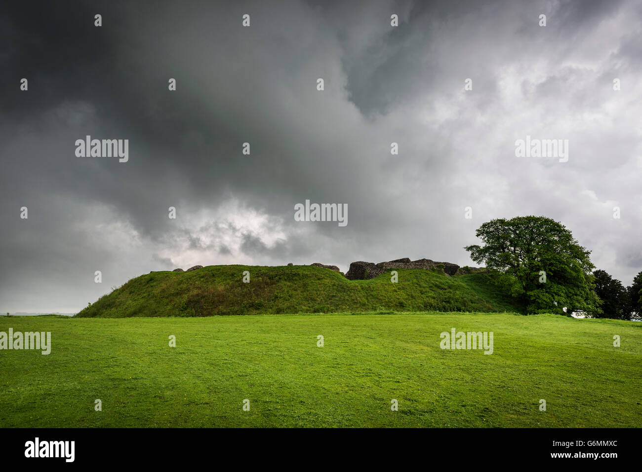 The ruins of the Norman Castle at the centre of Old Sarum Iron Age hill fort near Salisbury, Wiltshire, UK Stock Photo