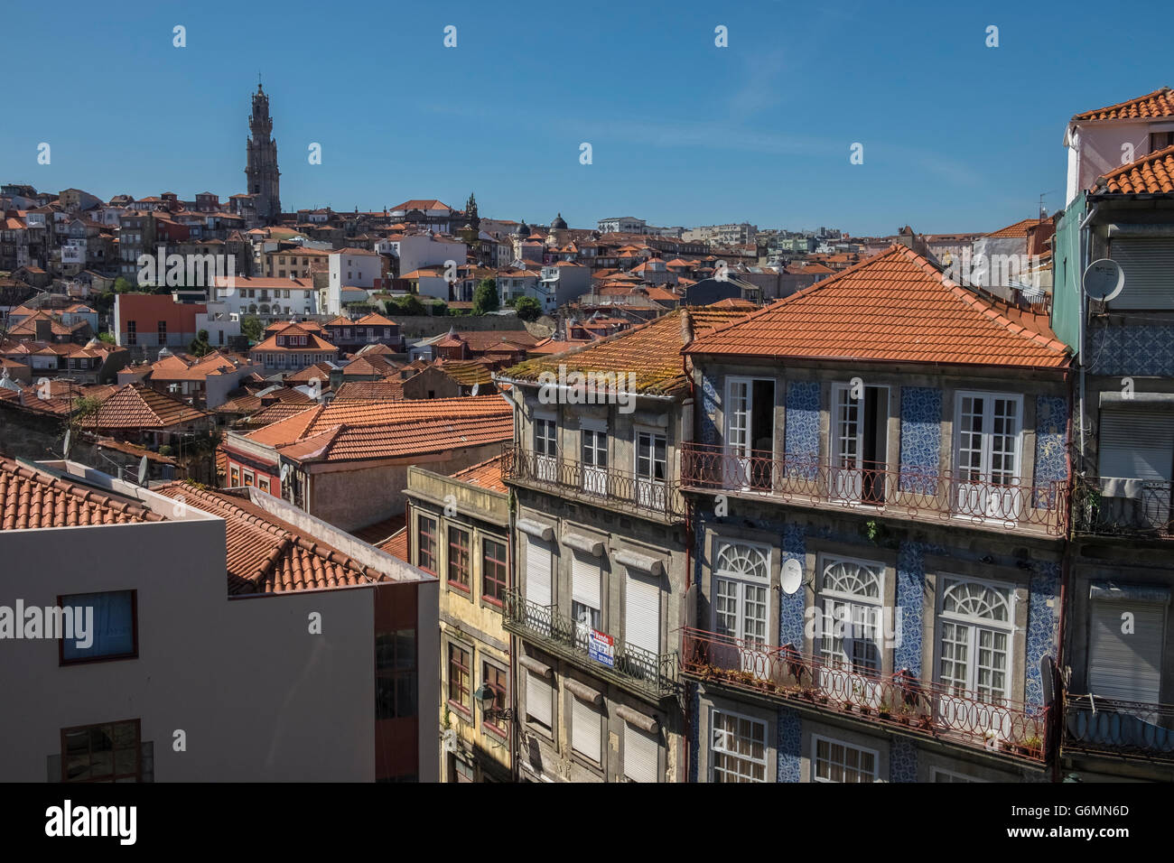 Traditional buildings in the historic Ribeira district of Porto, Portugal - Stock Image