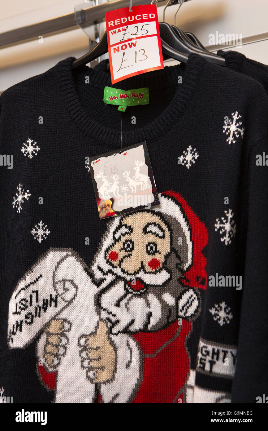 UK, Gloucestershire, Gloucester, King's Walk shopping Centre, Santa Claus Christmas pullover - Stock Image