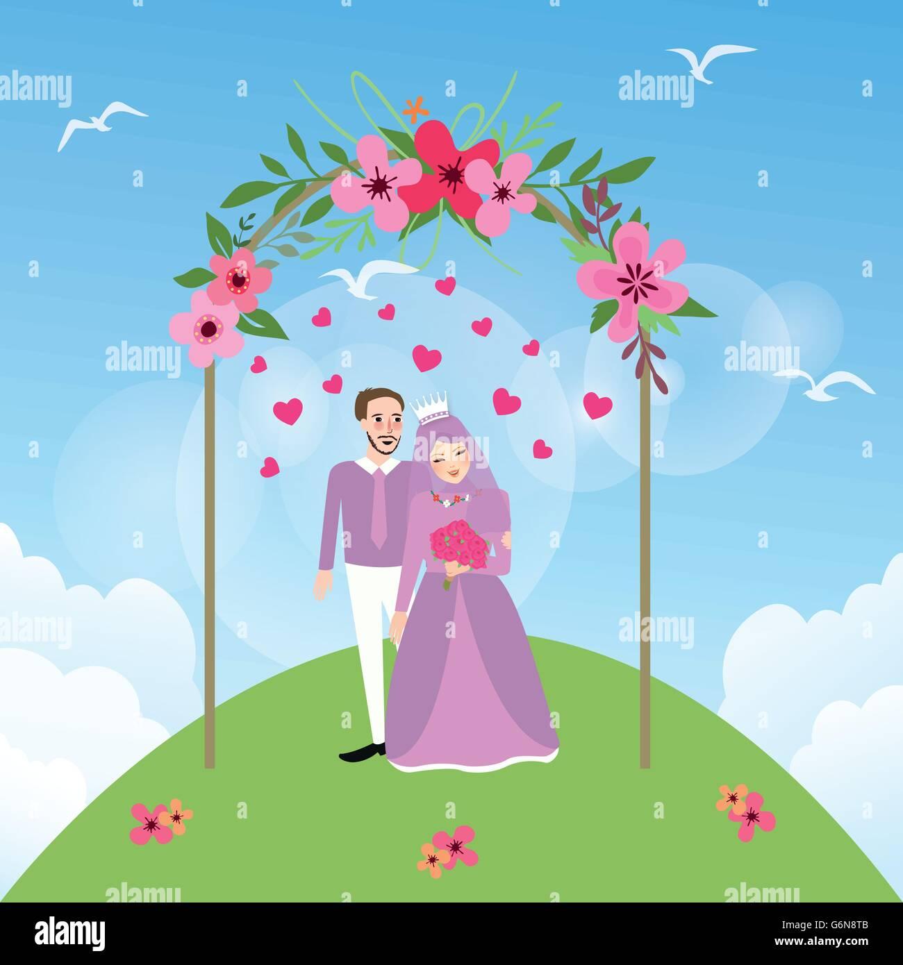 Couple Married Islam Woman Girl Wearing Veil Marriage Wedding Stock Vector Image Art Alamy