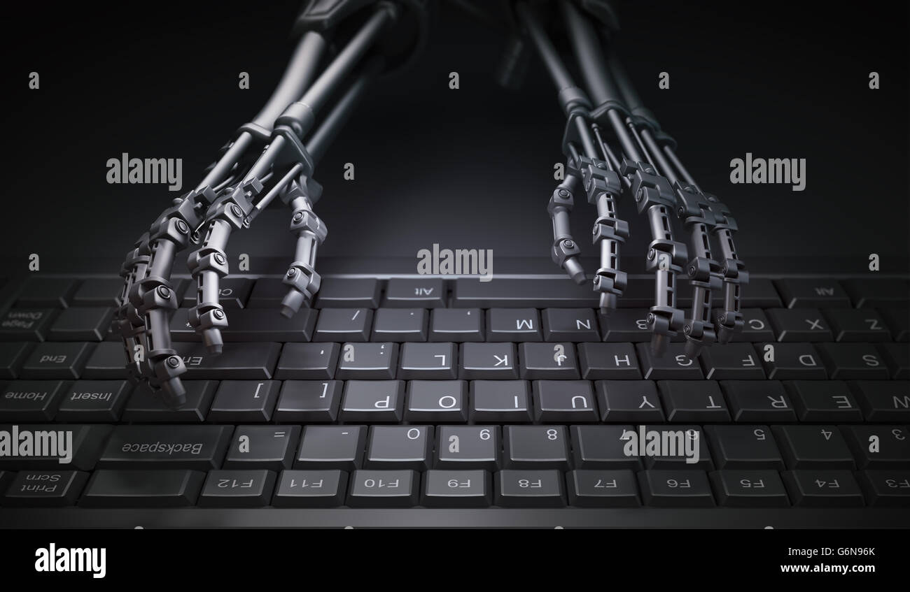 Robot typing on a computer keyboard - automation and AI research concept illustration - Stock Image