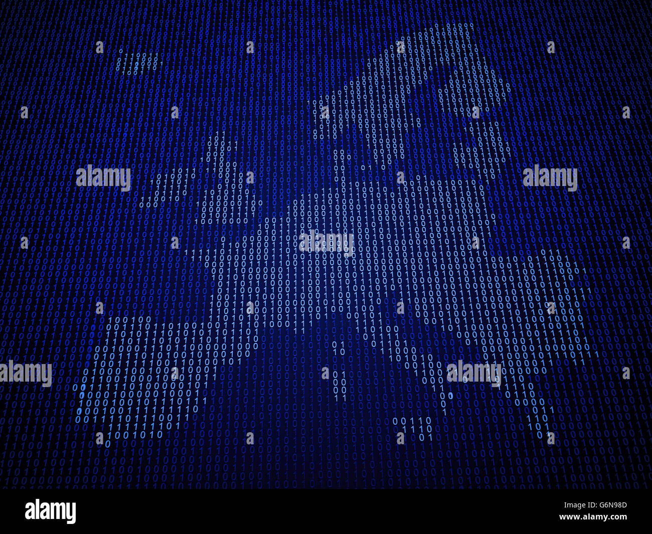 European Union map made out of binary code - Stock Image