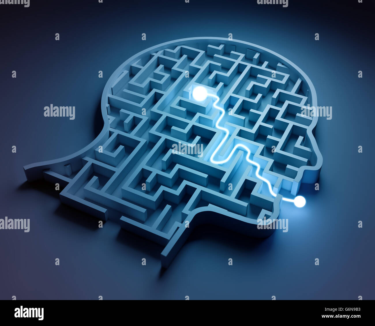 Maze inside a head - from brain to speech - Stock Image