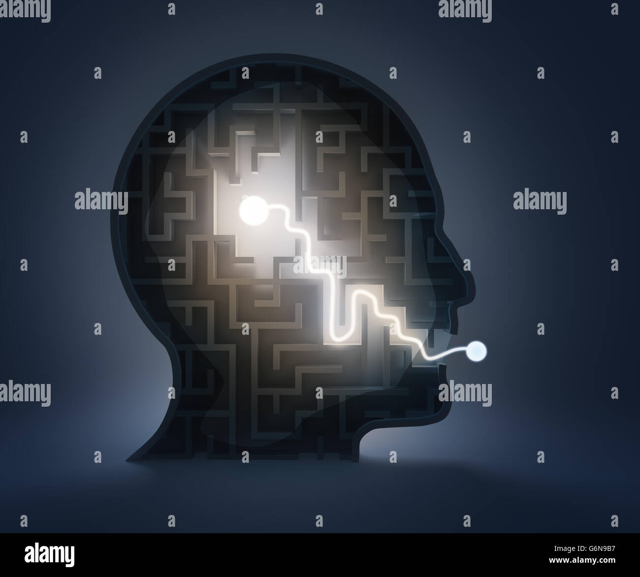 Maze inside a head - from brain to speech - Stock Image