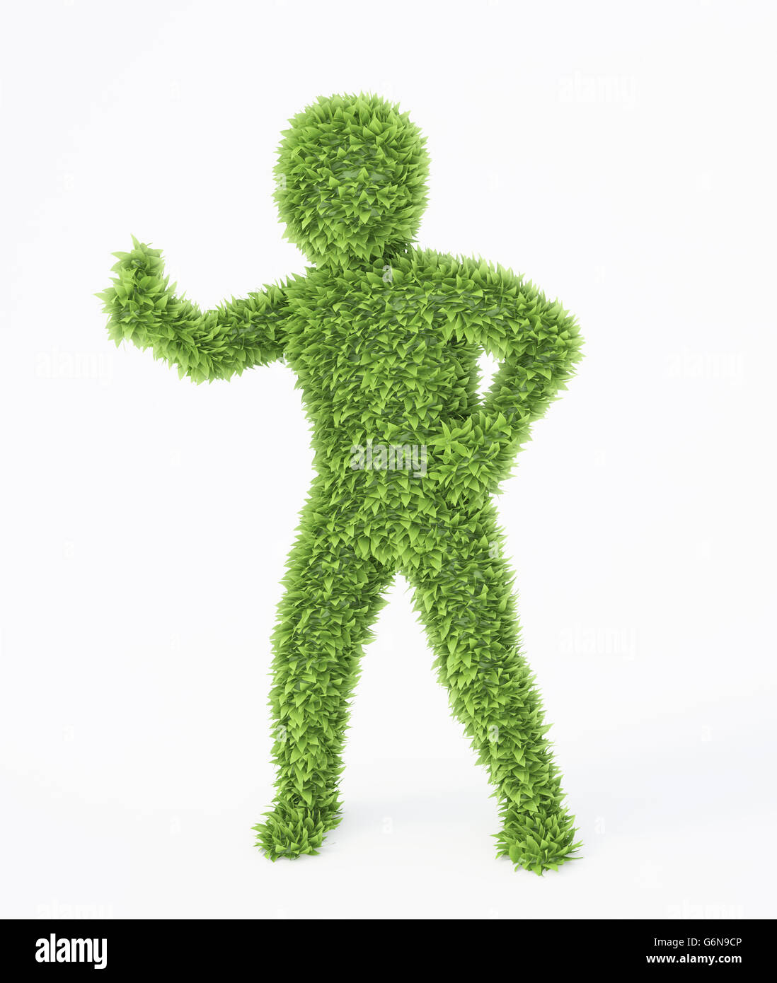 Leaf covered eco friendly 3D character - Stock Image
