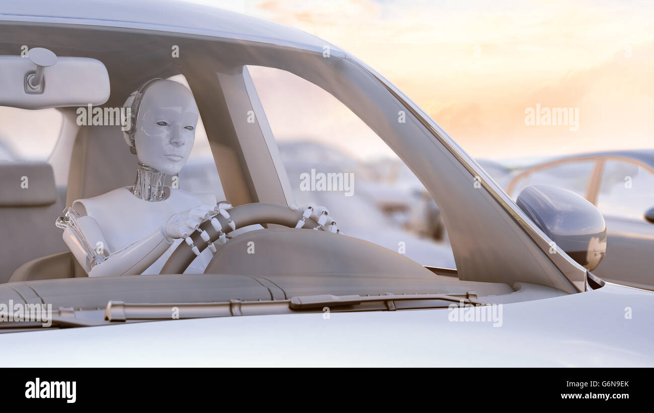 Robot stuck in a traffic jam - autonomous transport  and self-driving cars concept 3D illustration. - Stock Image