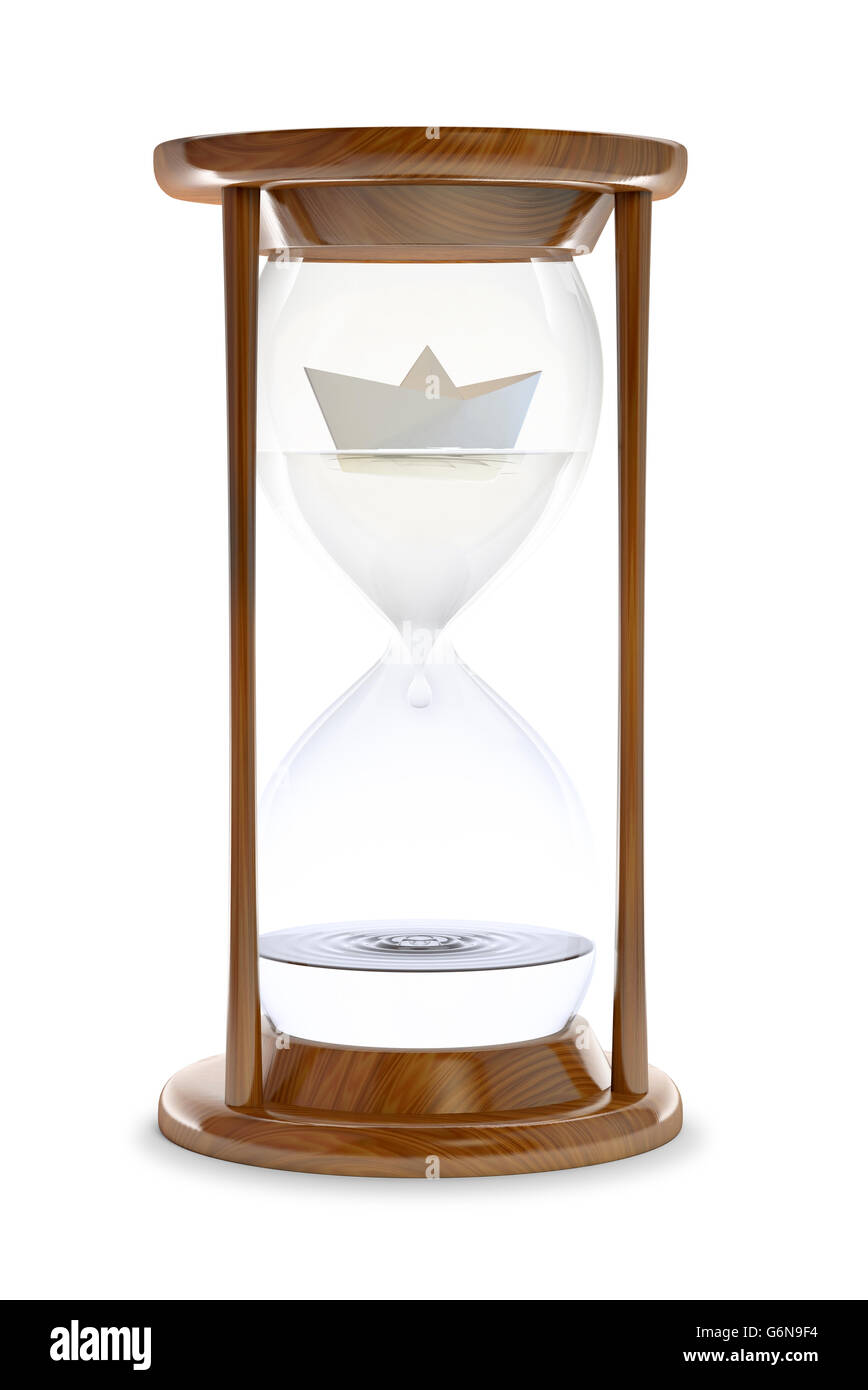 Paper ship inside a water-filled hourglass - 3d conceptual illustration - Stock Image
