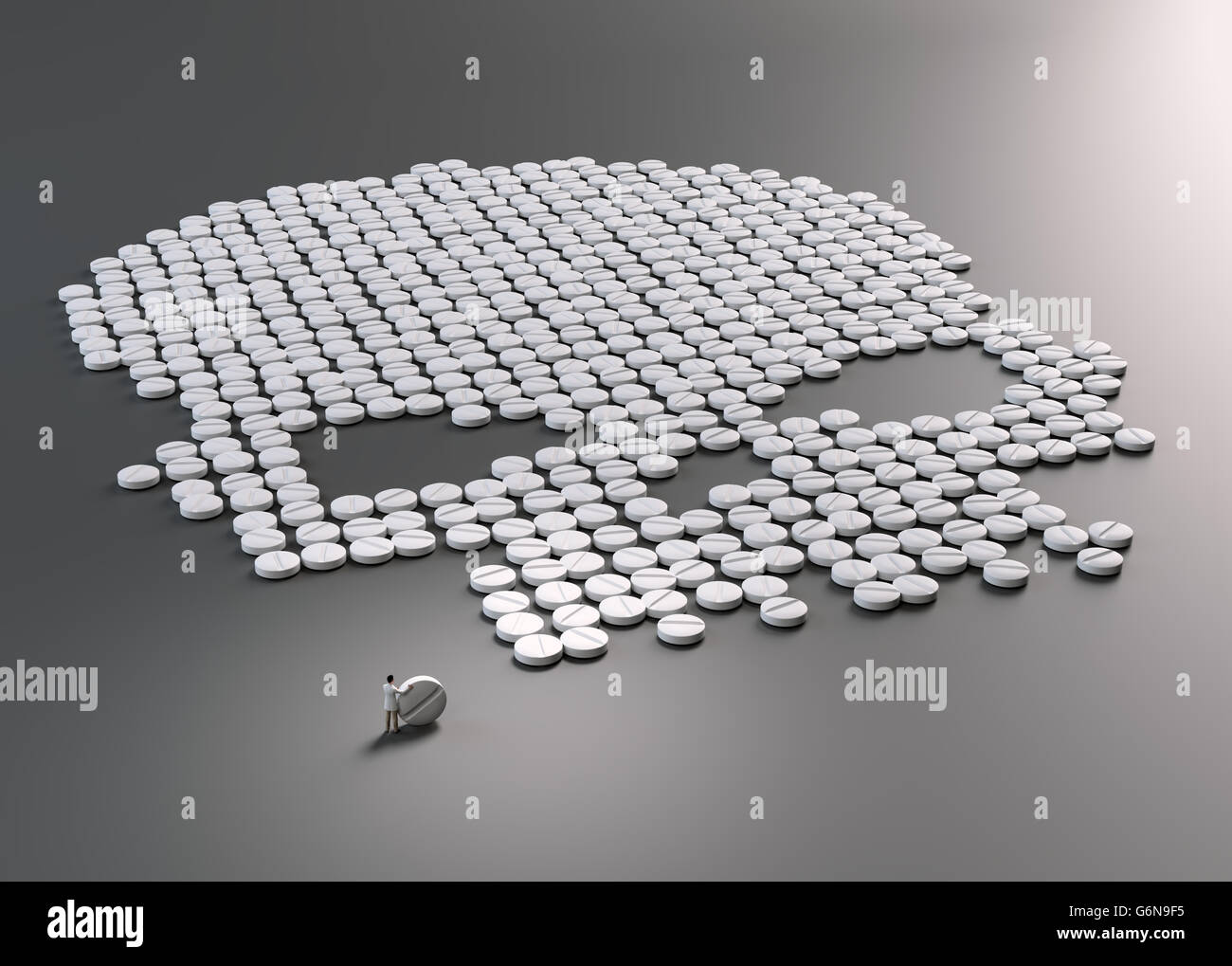 Pills forming a skull symbol - drug abuse concept 3D illustration - Stock Image