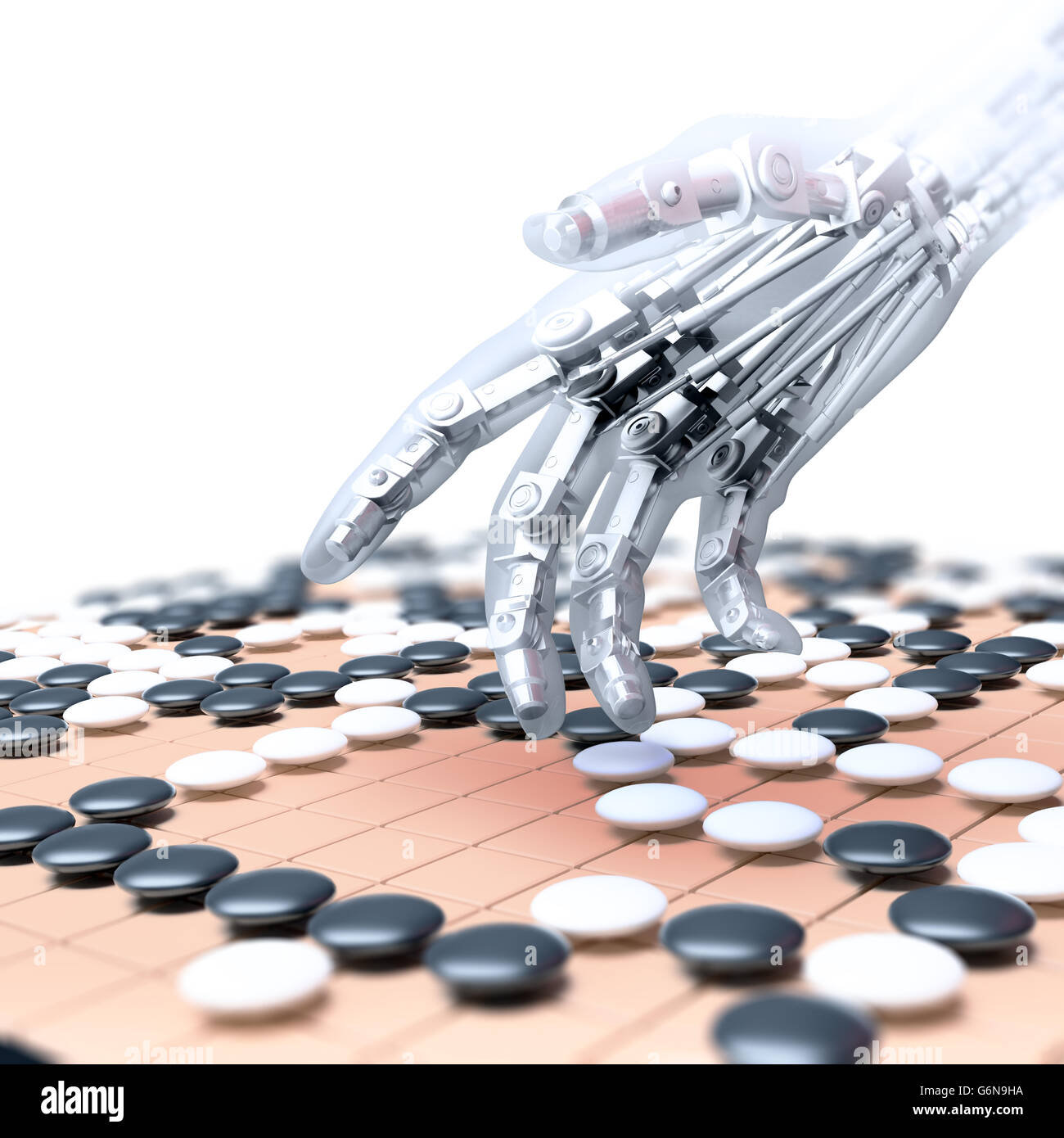 Artificial intelligence competing in the game of go - 3D illustration - Stock Image