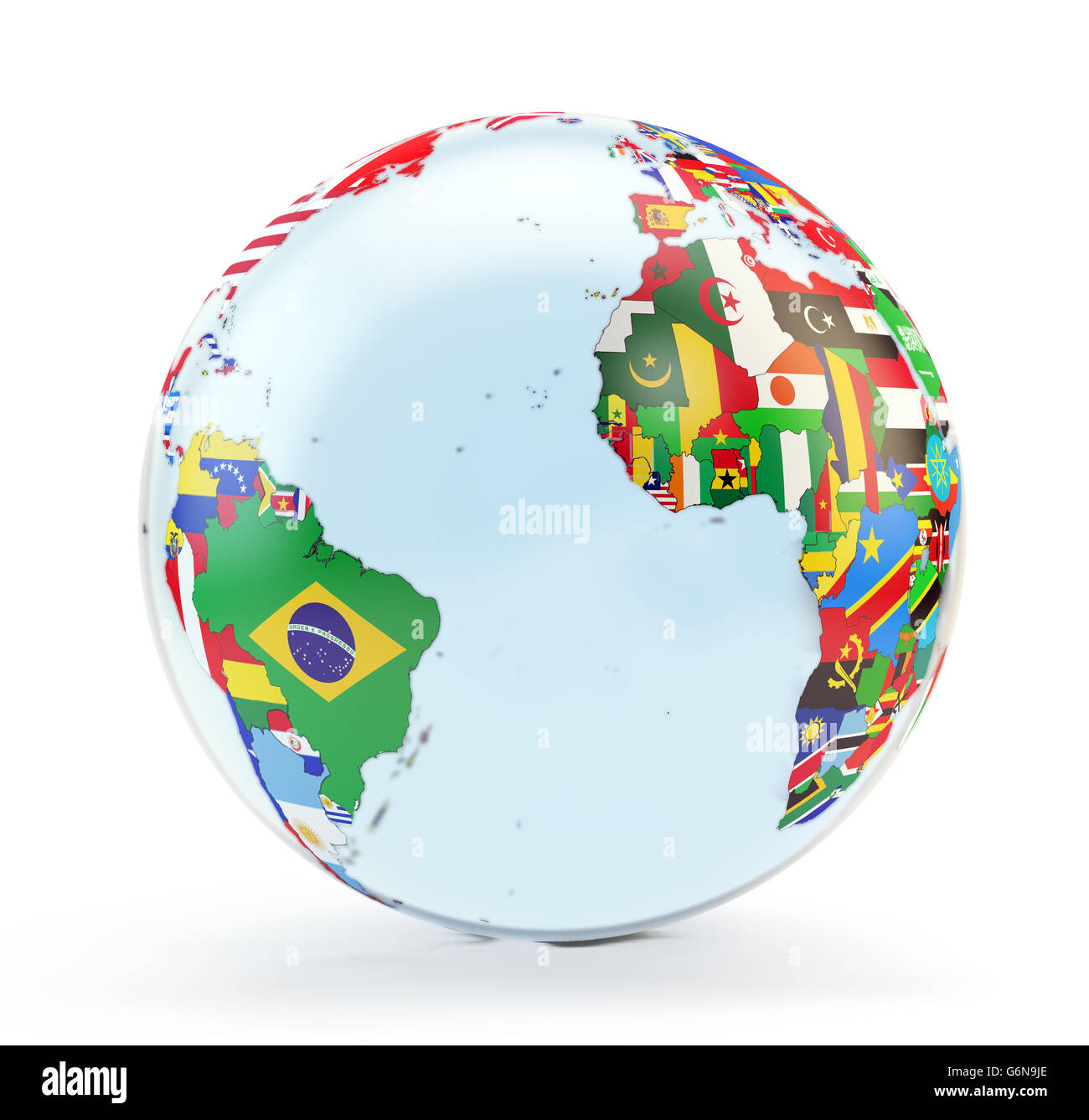 3D globe with national flags - Stock Image