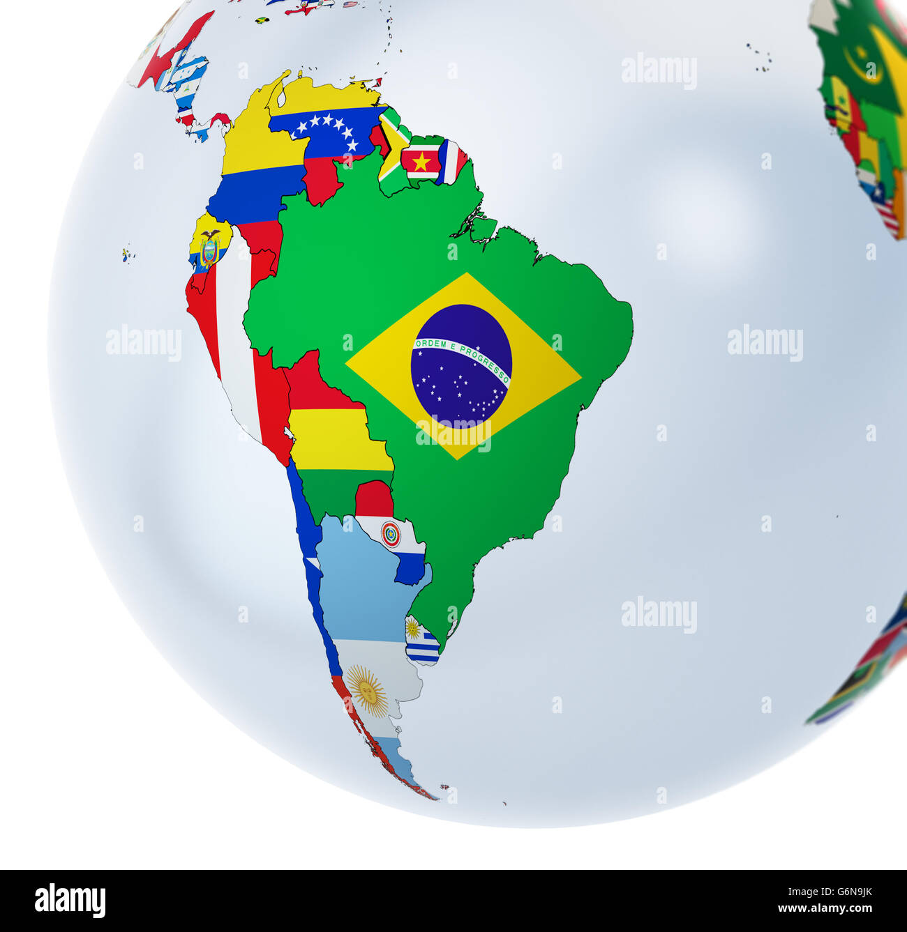 3D globe with national flags - 3D illustration - Stock Image