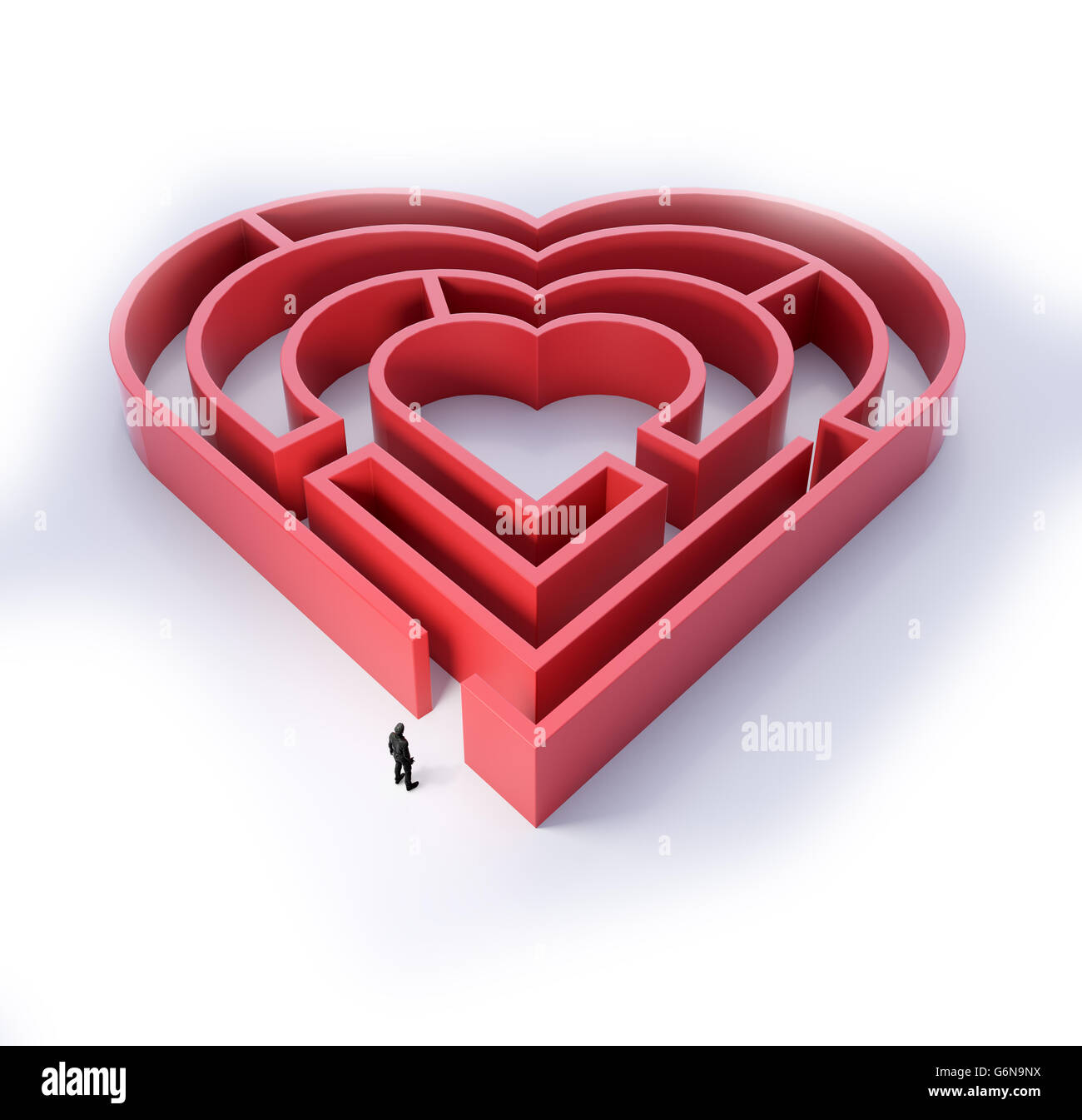 Heart shaped maze - love and relationship concept 3D illustration - Stock Image