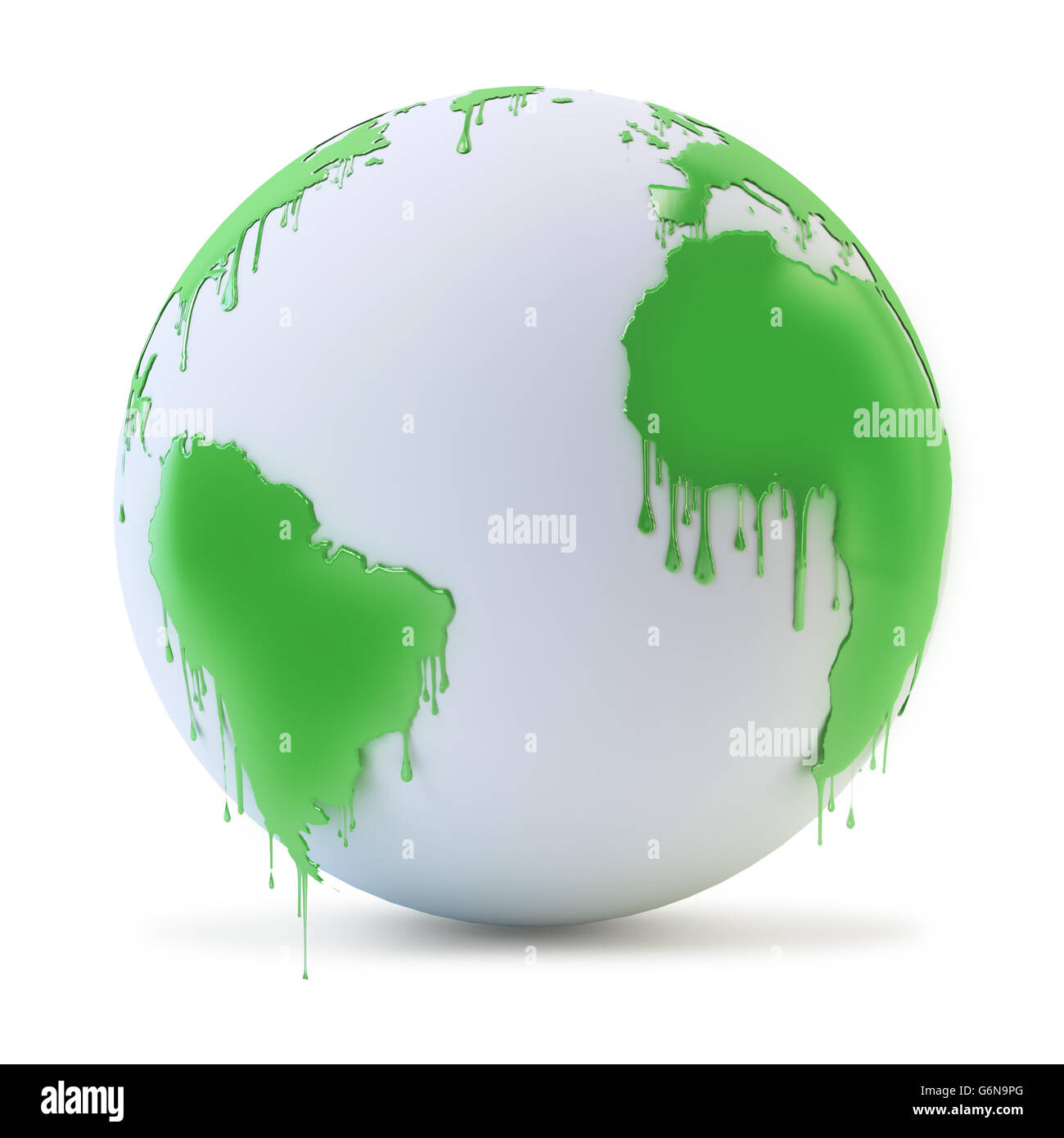Wet paint dripping from a globe - environmental protection concept 3D illustration - Stock Image