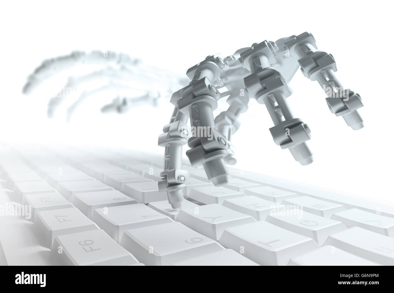 Robot typing on a computer keyboard - automation and AI research concept 3d illustration - Stock Image