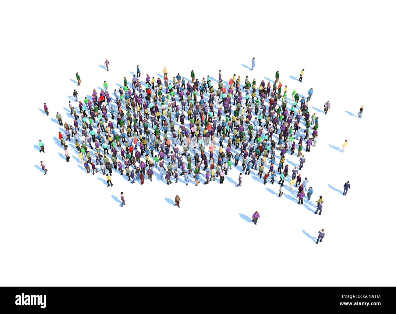 Large group of people forming a speech bubble symbol - 3D illustration - Stock Image