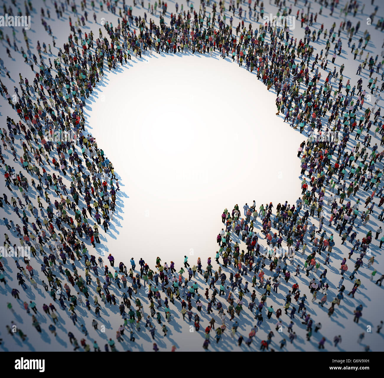 Large group of people forming a head symbol - 3D illustration - Stock Image