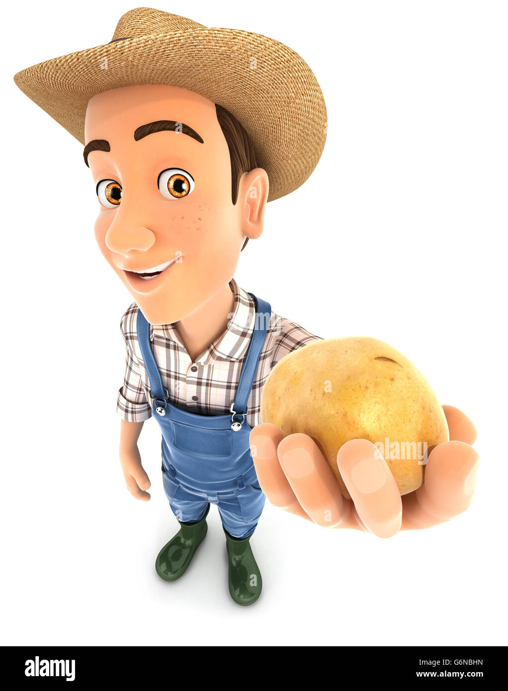 3d farmer holding a potato, illustration with isolated white background Stock Photo