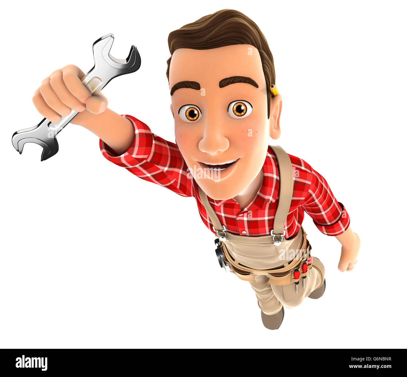 3d handyman flying and holding a wrench, illustration with isolated white background Stock Photo