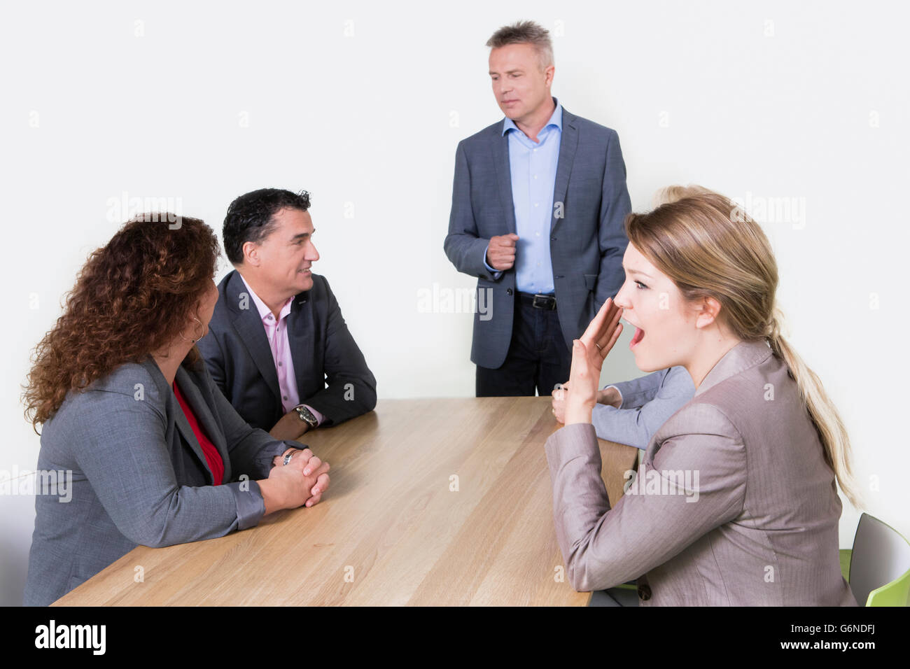Business presentation in conference room, business person standing and  coworkers sitting at the desk and listening - Stock Image