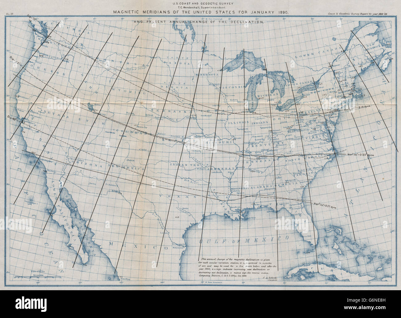 USA: Magnetic meridians January 1890. Annual declination change ...