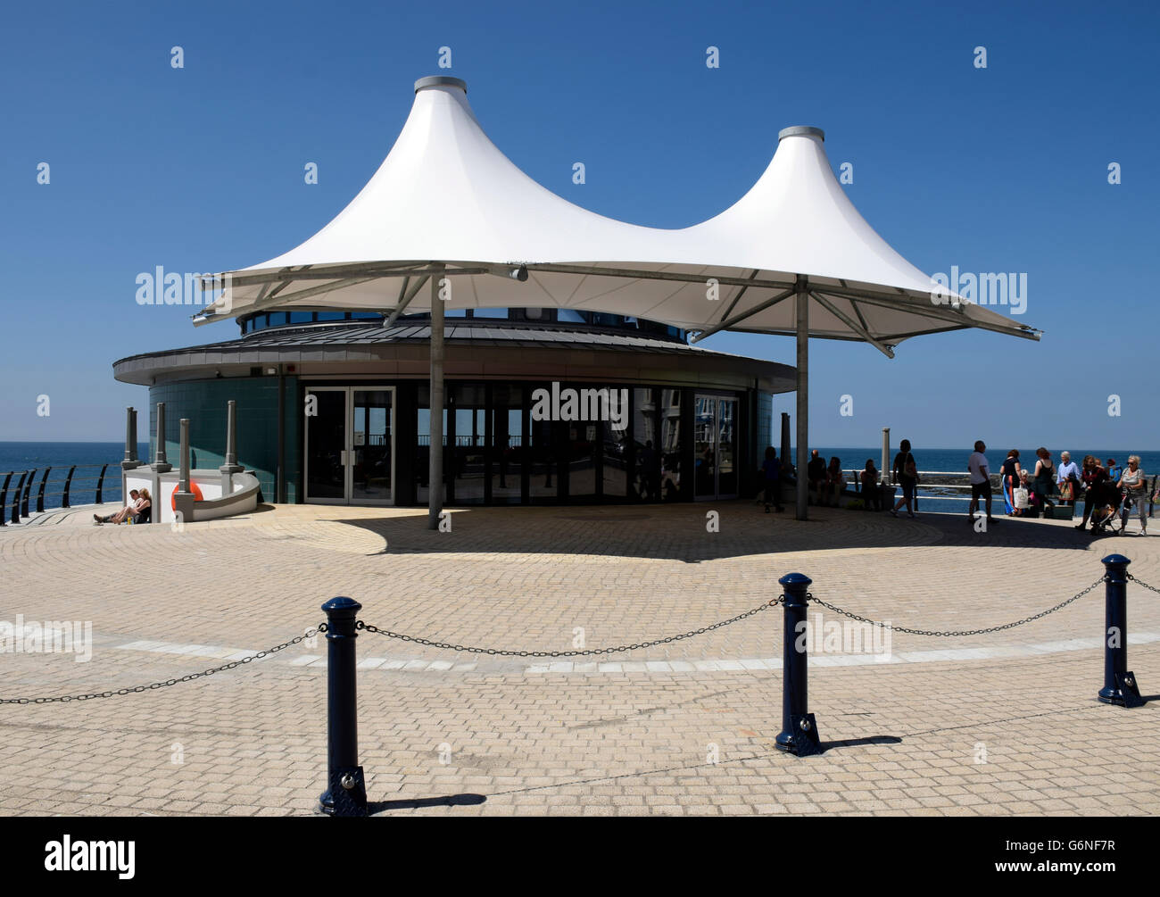 New Bandstand, Aberystwyth seafront promenade, Wales. - Stock Image