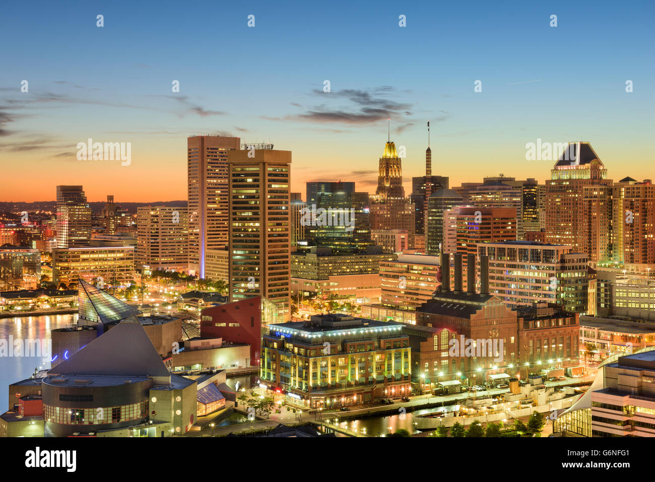 Baltimore, Maryland, USA downtown cityscape at dusk. - Stock Image