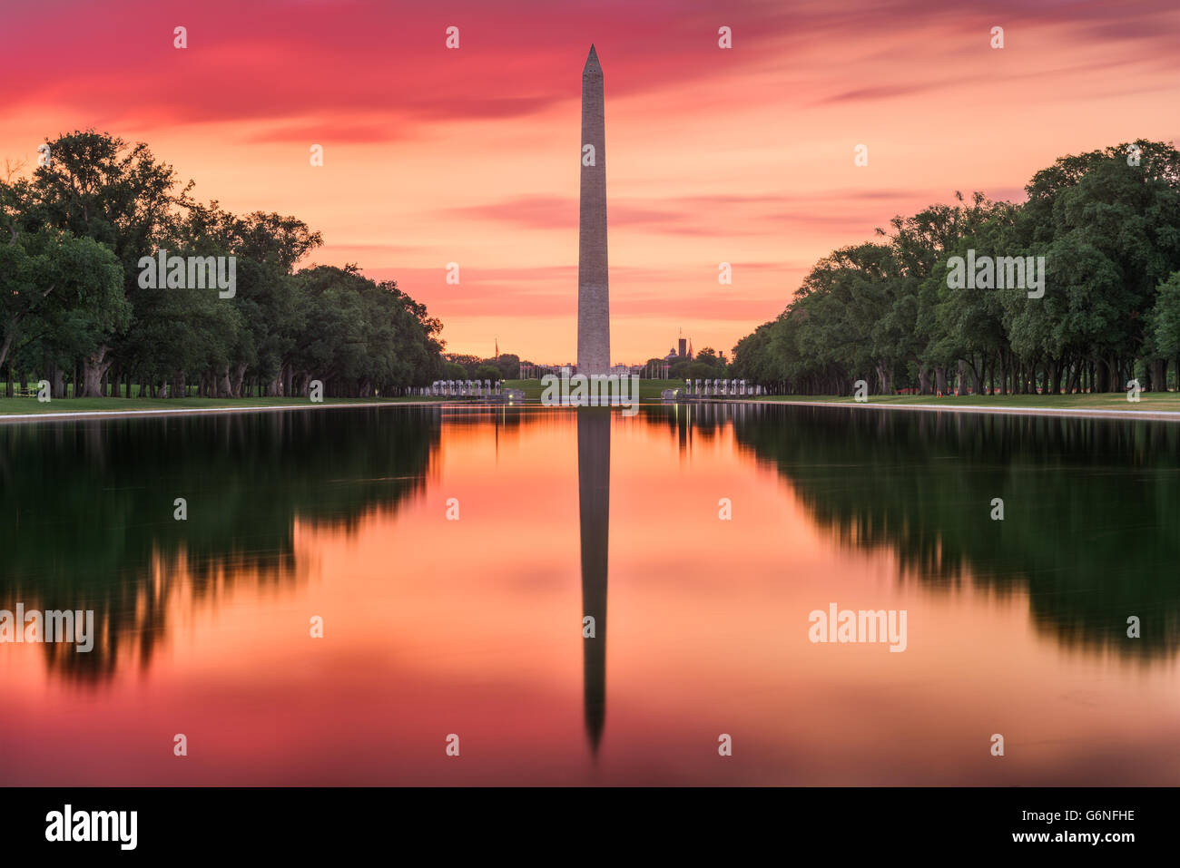 Washington DC at the Reflecting Pool and Washington Monument. - Stock Image