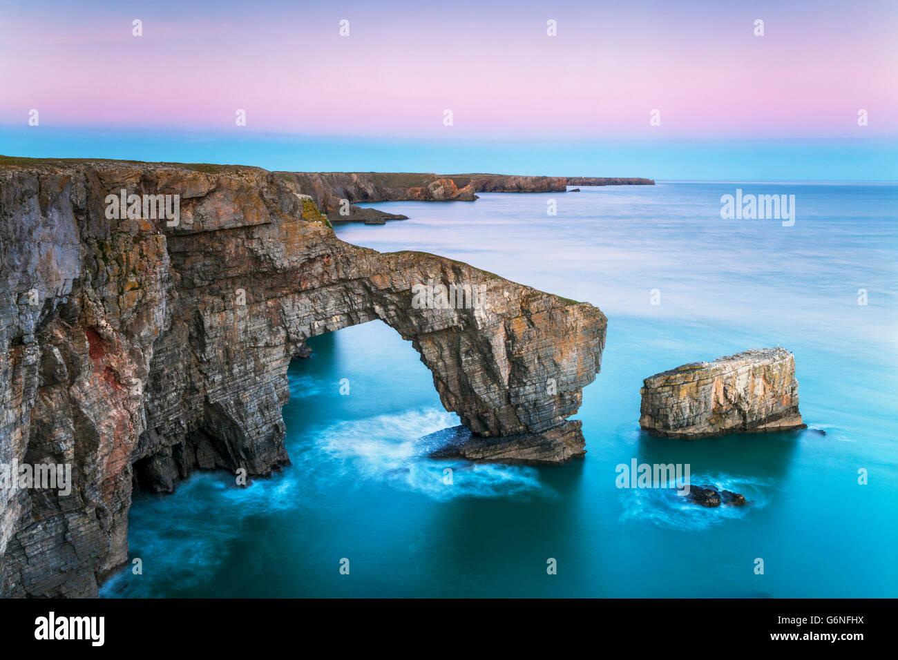 Green Bridge of  Wales,  Pembrokeshire Coast, Wales, U.K. - Stock Image