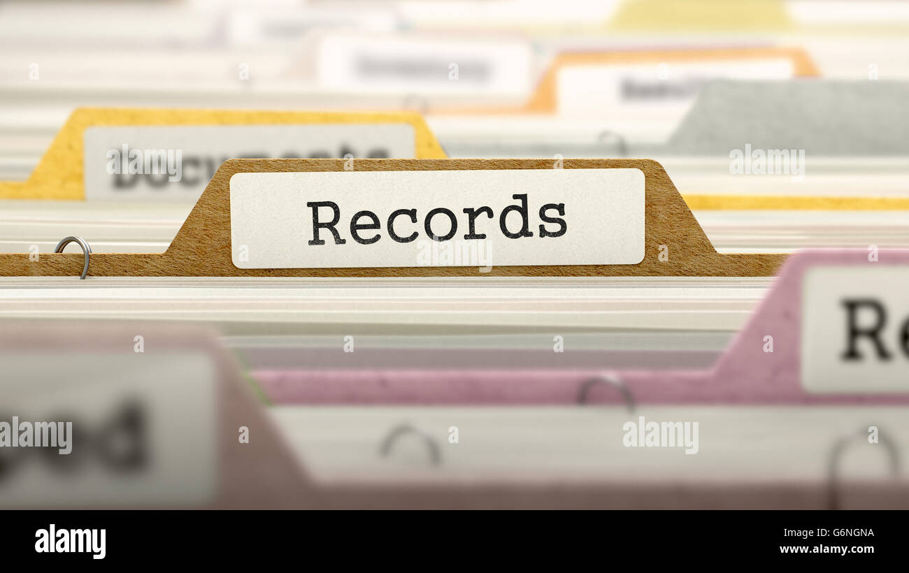 Records Concept on File Label. - Stock Image