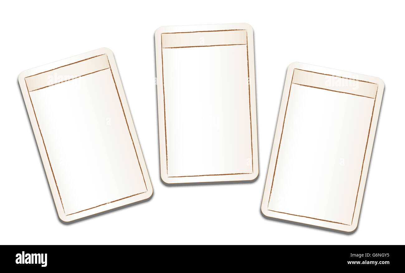 Vintage playing cards with blank front sides and fields to be labeled. Illustration on white background. - Stock Image