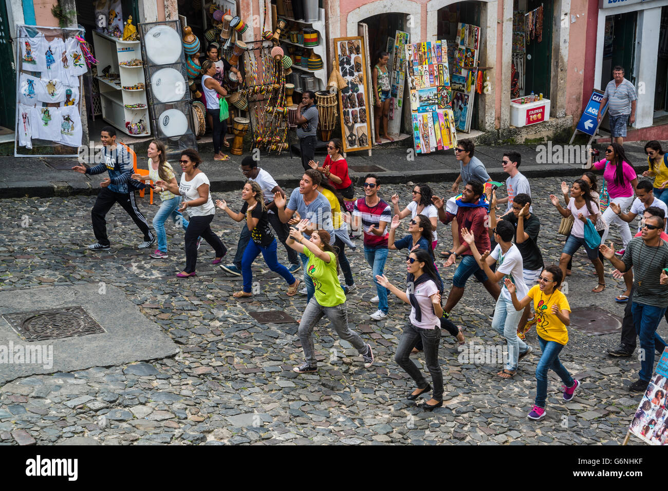 Group of student protesters demonstrating at Largo Pelourinho, Salvador, Bahia, Brazil - Stock Image