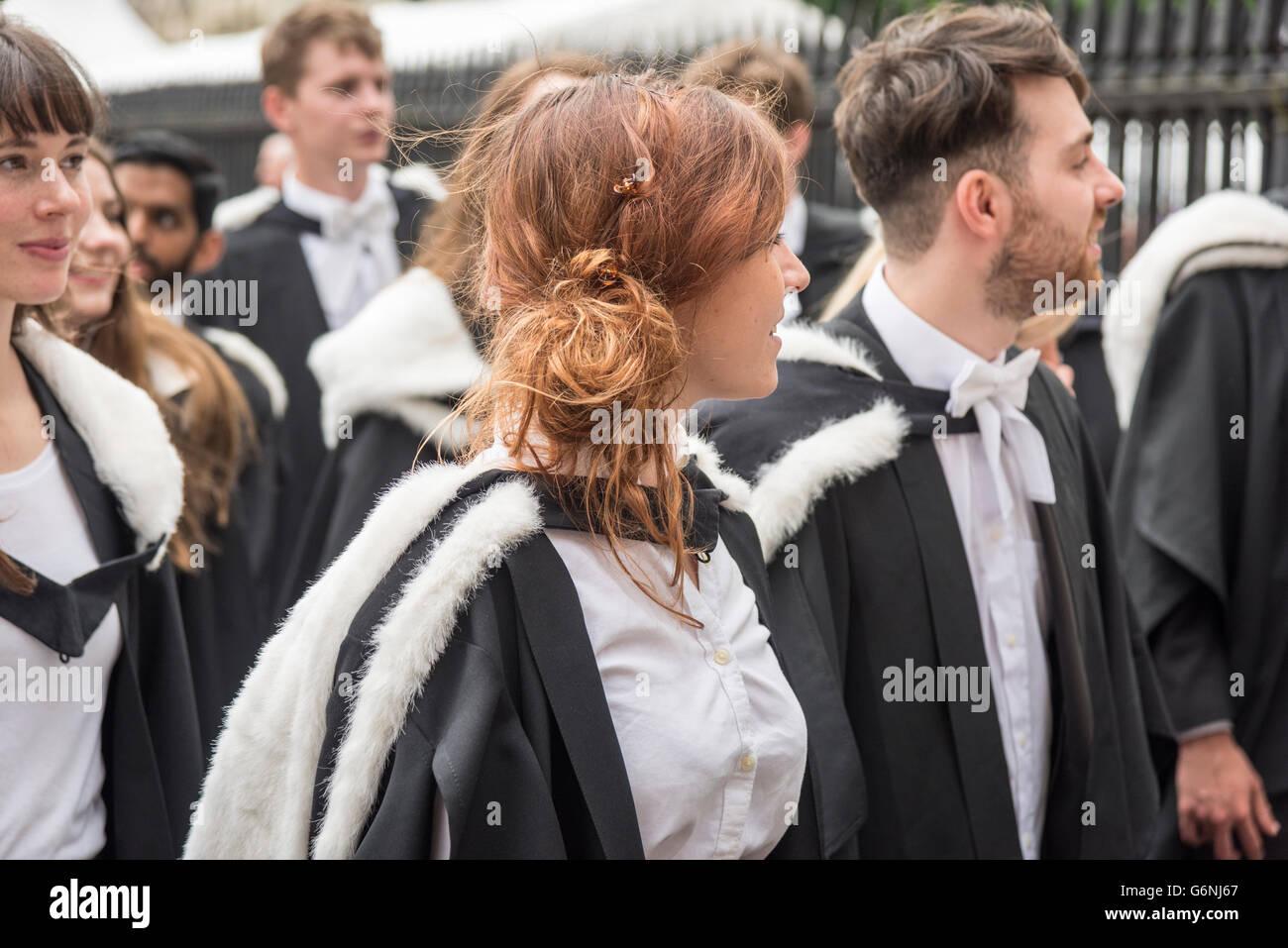Cambridge University students taking part in a graduation ceremony Cambridge UK - Stock Image