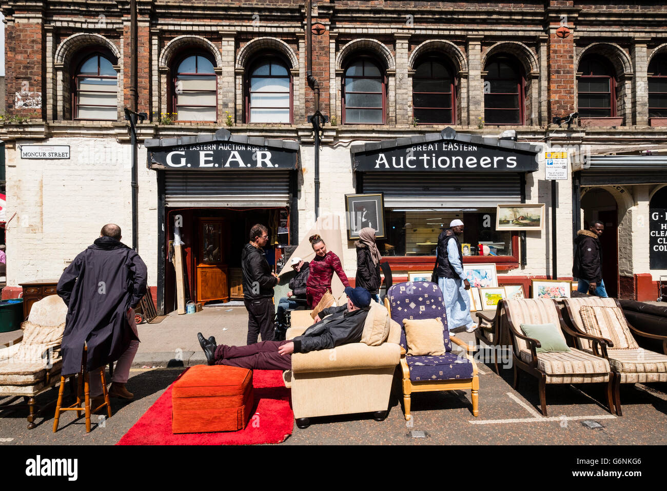 Exterior of second hand furniture shop at Barras Market in Gallowgate Glasgow, United Kingdom - Stock Image