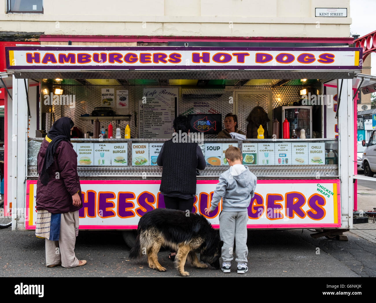 Fast food burger van selling cheap snacks at Barras market in Gallowgate Glasgow, United Kingdom - Stock Image
